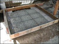 Oven base ready for pour